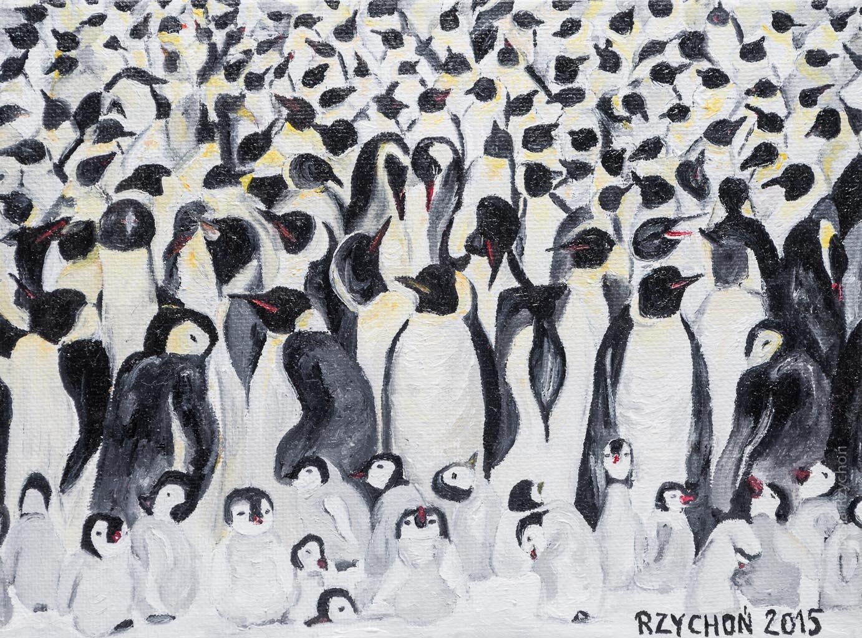 Pingwinusy cesarsko-królewskie. Obraz olejny na płótnie, 24x18 cm, 2015. Obraz w kolekcji prywatnej.