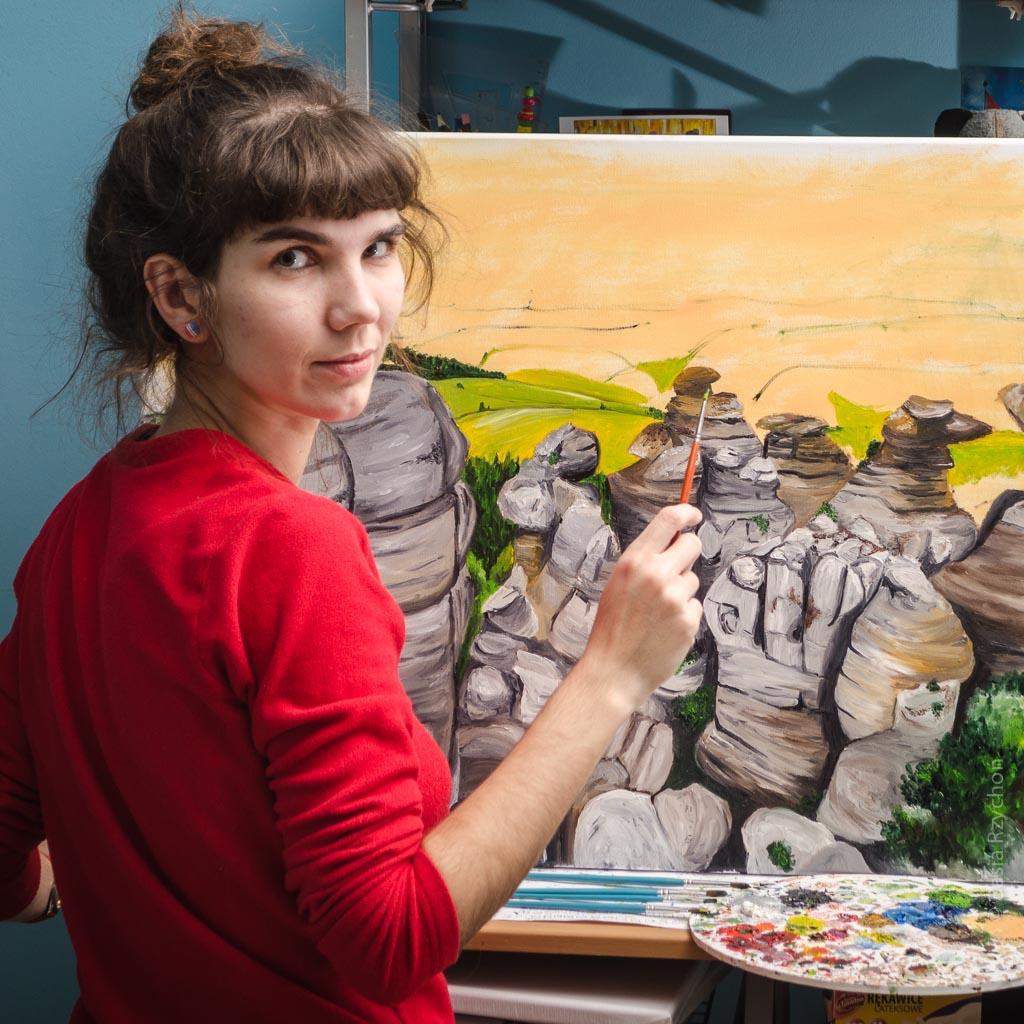 Maluję pejzaż górski, a dokładnie Góry Stołowe.