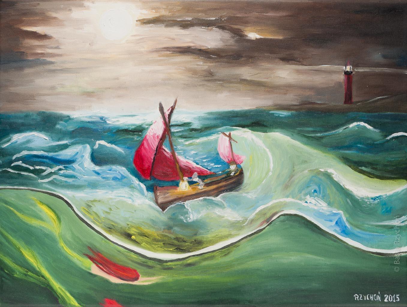 Syreny. Obraz olejny na płótnie, 40x30 cm, 2015. Obraz w kolekcji prywatnej.