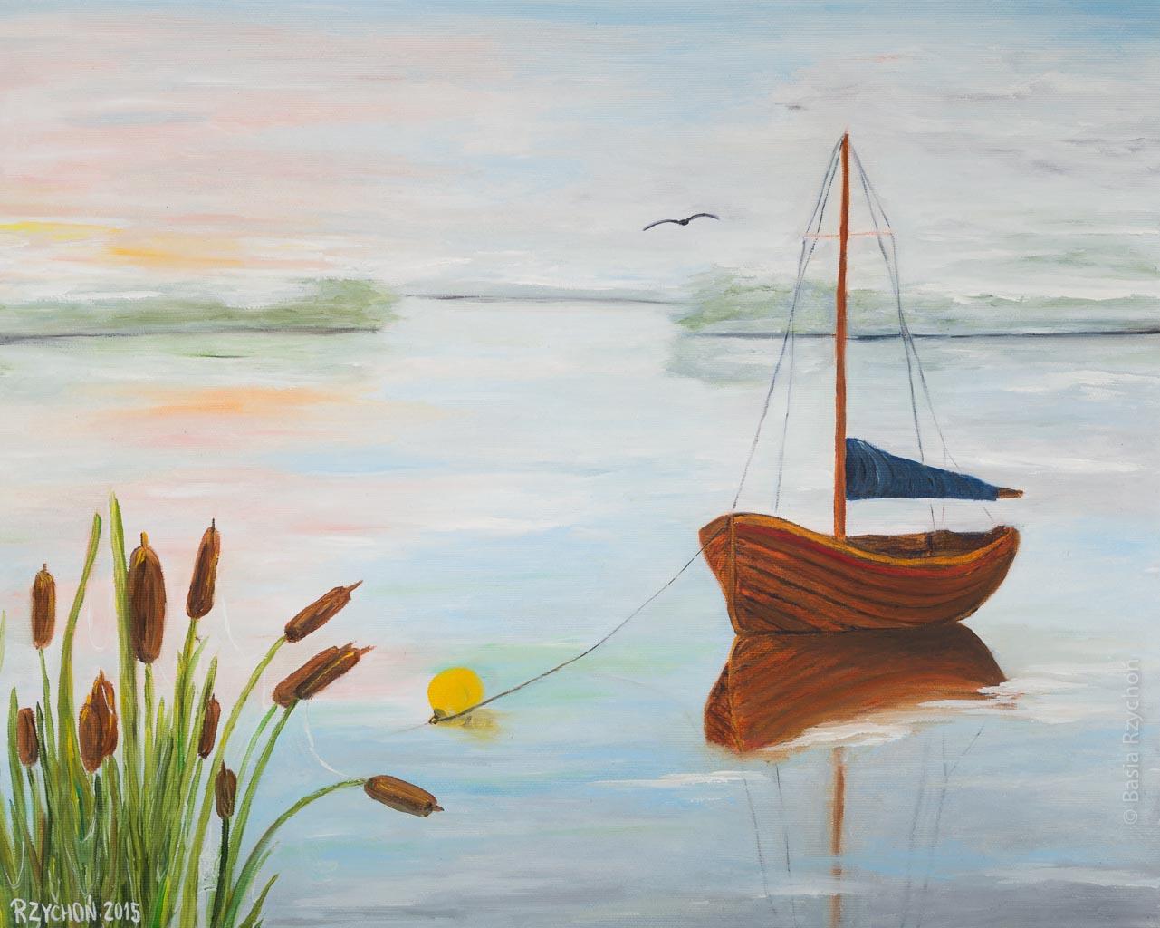 Świt nad jeziorem, Obraz olejny na płótnie, 50 x 40 cm, 2015. Obraz w kolekcji prywatnej.