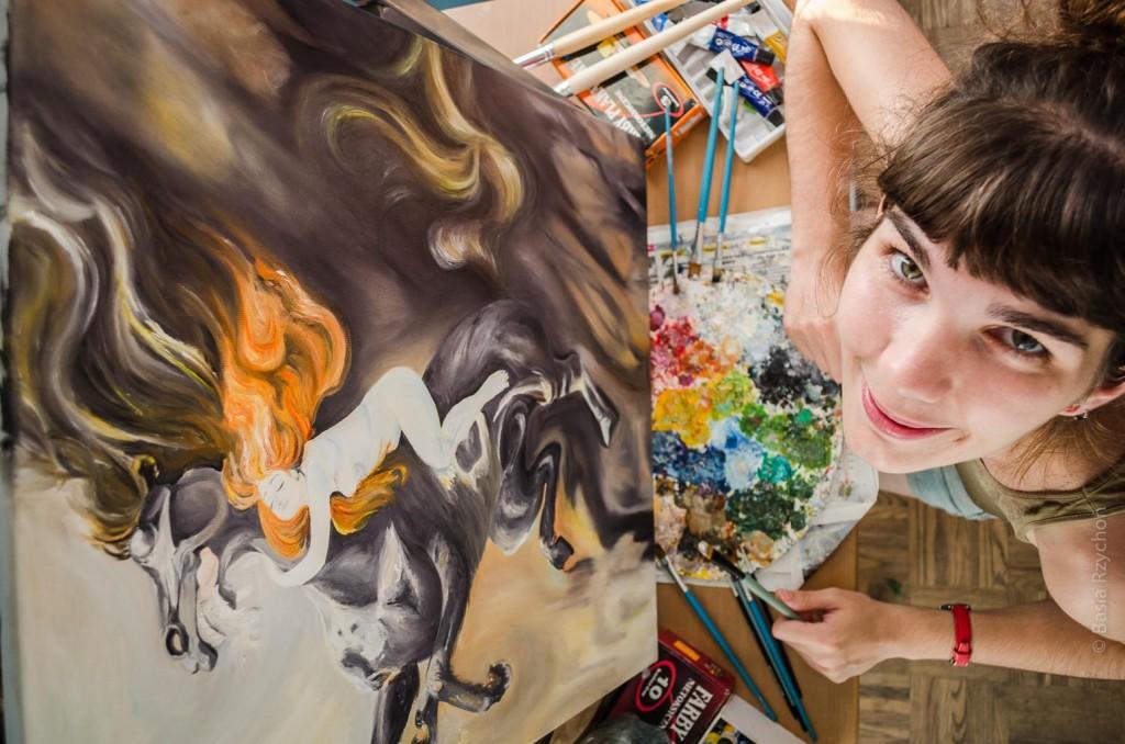 """Moja pracownia malarska. Na sztaludze """"Szał Podkowińskiego"""", maluję go-jak prawie wszystkie moje obrazy- farbami olejnymi."""