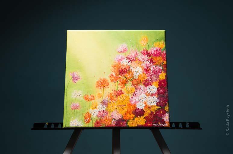 Łąka kwiatów. Olej na płótnie, 30 x 30 cm, 2015.