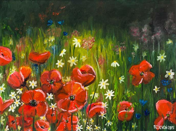 Kwiaty na łące. Obraz olejny na płótnie, 40x30 cm, 2015.
