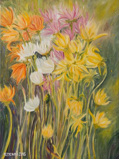 Kwiaty mamy. Obraz olejny na płótnie, 30x40 cm, 2015.