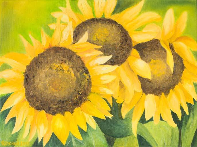 Trzy słoneczniki. Obraz olejny na płótnie, 40x30 cm, 2015.