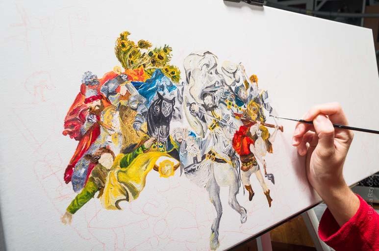 Moja bitwa pod Grunwaldem Matejki- stan prac nad obrazem do salonu.