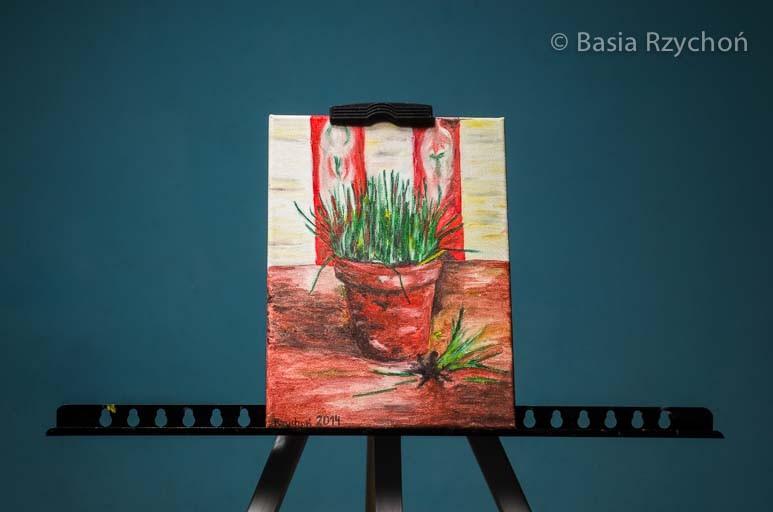 """Moja wersja """"Doniczki ze szczypiorkiem"""" Vincenta van Gogha."""