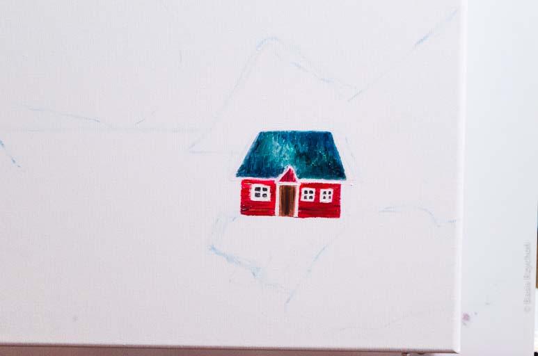 """""""Nocą nad fiordem"""", obraz olejny. Malowanie."""