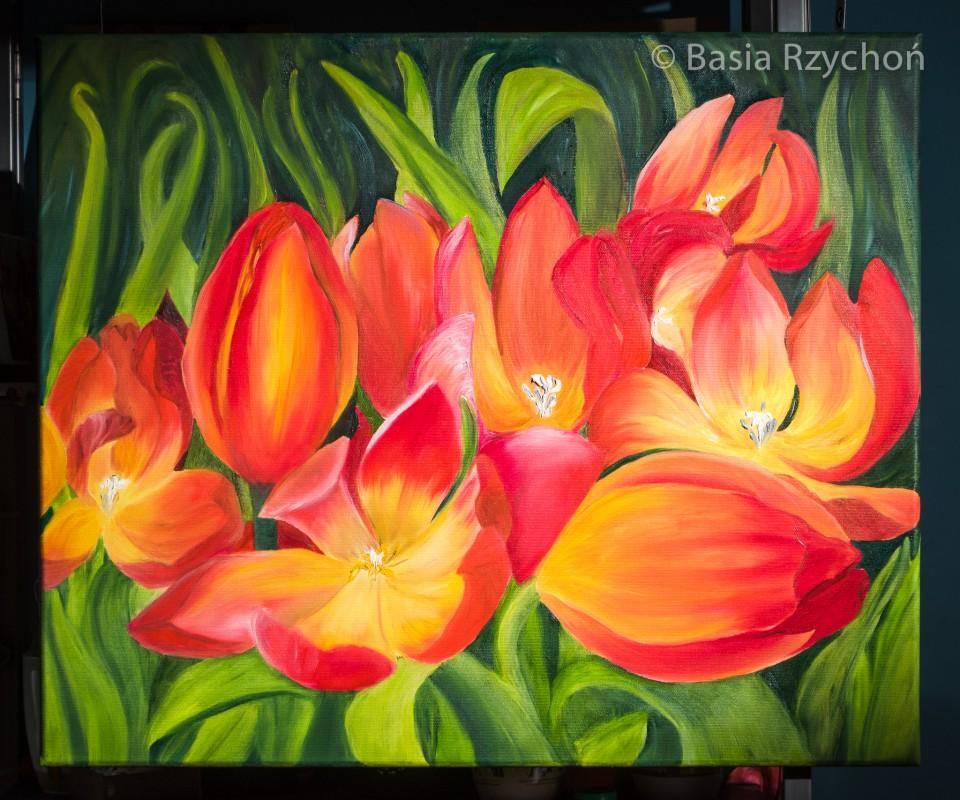 Mój najnowszy obraz z tulipanami- olej na płótnie 60 x 50 cm- już prawie skończony. Jeszcze ino podpis i ostatnie drobne szczegóły.