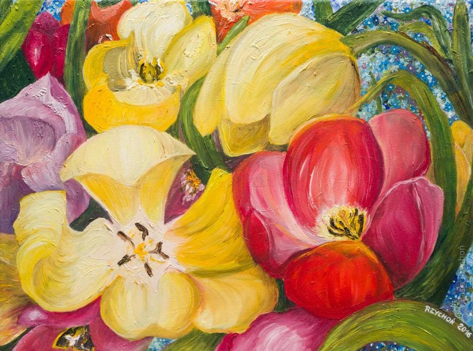 Bajkowe tulipany- mój autorski obraz olejny.