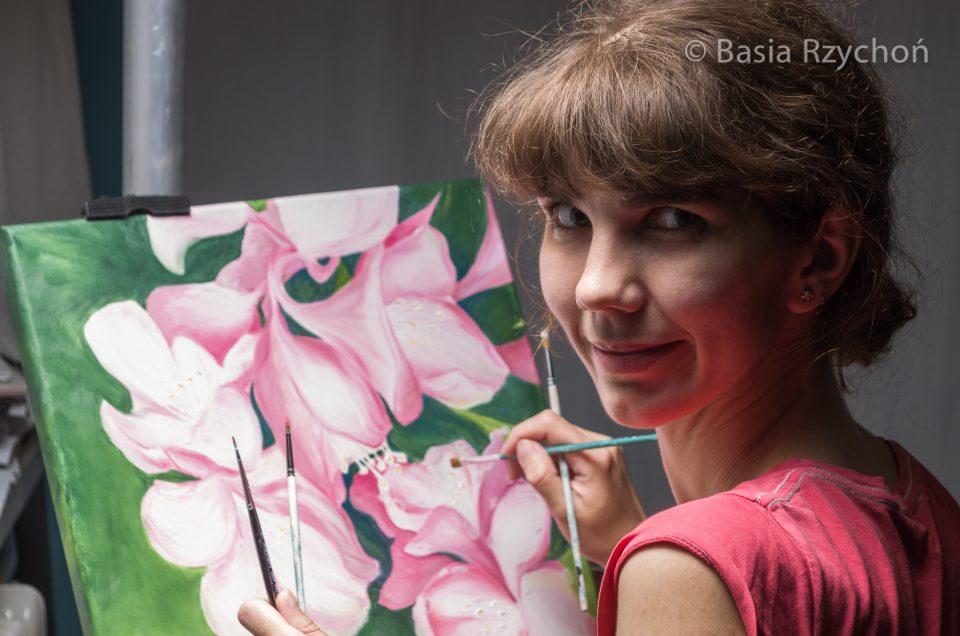 Praca nad nowym obrazem. Tym razem rododendron.