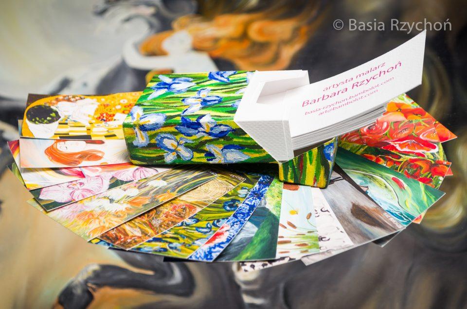 """Nie mogło też zabraknąć """"Wiosny"""" Axentowicza wśród moich wyjątkowych wizytówek. Na zdjęciu jest druga z lewej- zaraz obok """"Pocałunku"""" Klimta."""