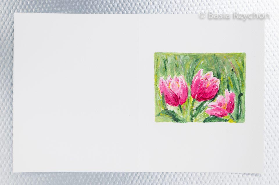 Ręcznie malowana kartka z tulipanami.