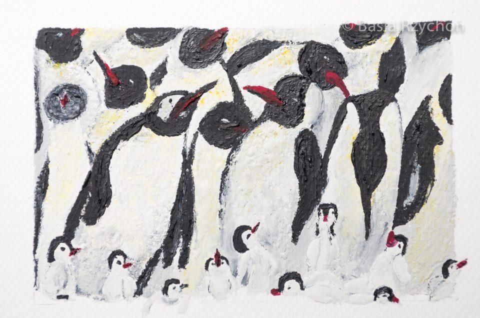 Ręcznie malowana kartka z pingwinami.