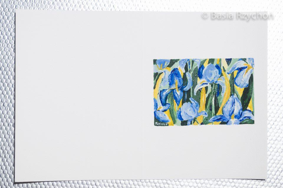 Ręcznie malowana kartka z irysami.