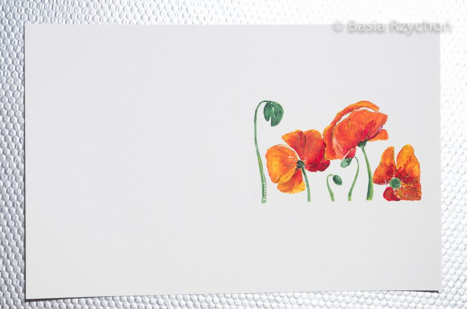 Ręcznie malowana kartka z makami.