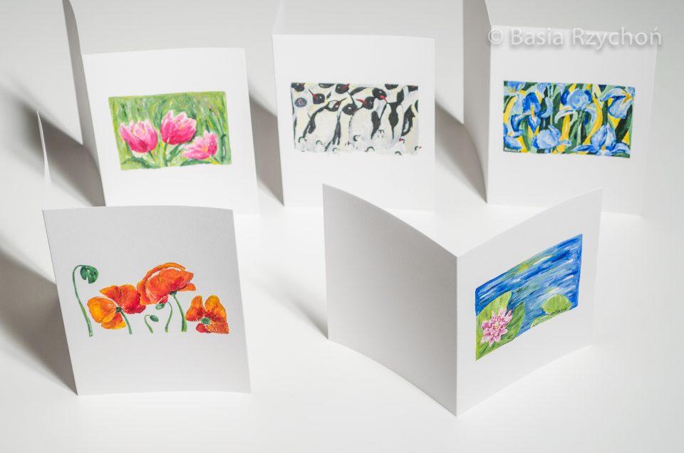 Ręcznie malowane kartki.